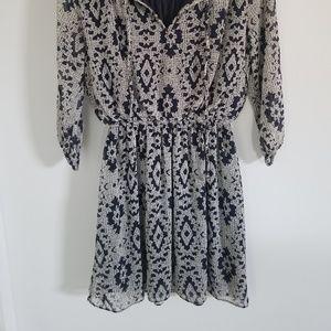 Soprano Dresses - 3/4 Sleeve Chiffon A-Line Dress